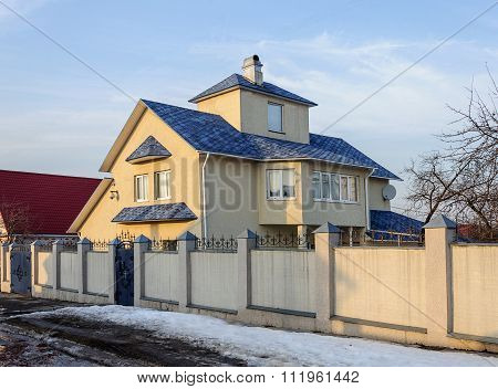 Modern Two-storey Cottage With Blue Roof