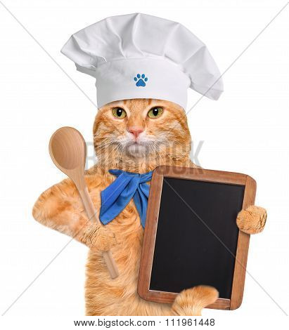 Dog chef with board.