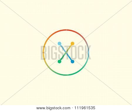 Abstract letter X logo design template. Colorful lined creative sign. Universal vector icon.