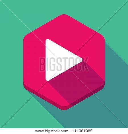 Long Shadow Hexagon Icon With A Play Sign