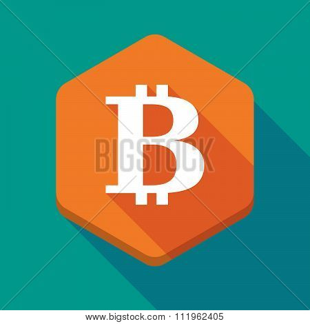 Long Shadow Hexagon Icon With A Bit Coin Sign