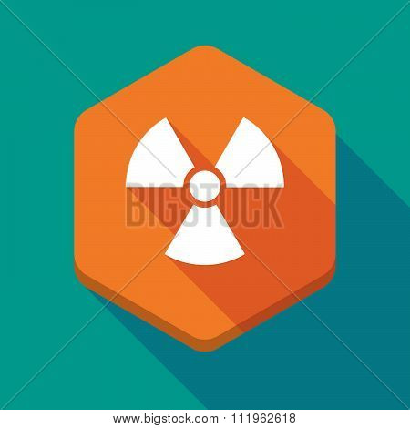 Long Shadow Hexagon Icon With A Radio Activity Sign