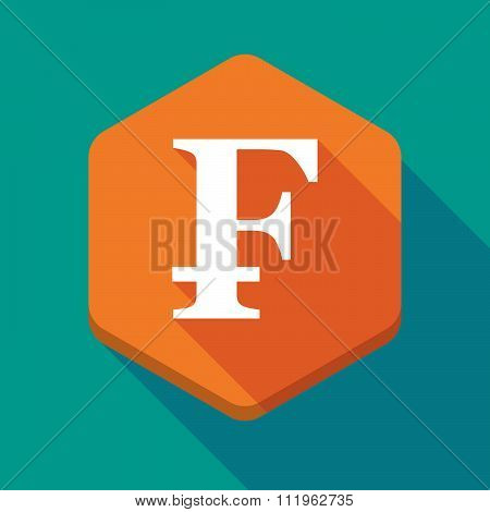 Long Shadow Hexagon Icon With A Swiss Franc Sign