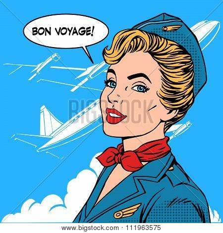 Bon voyage stewardess airplane travel tourism