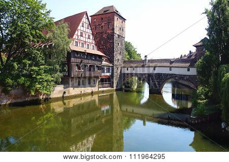 NURNBERG, GERMANY - JULY 01, 2015: Historic fortifications of old town. The Nuermberg has half-timbe