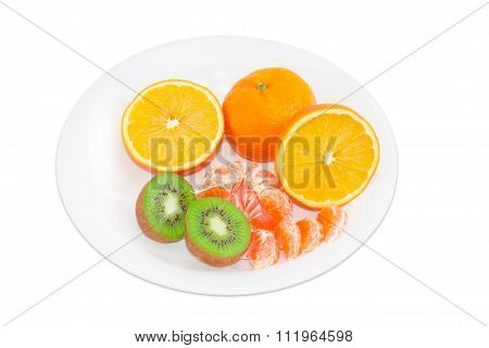 Different Fruits On A White Dish