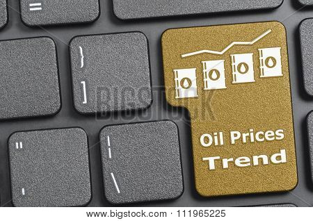 Brown oil prices tend key on keyboard