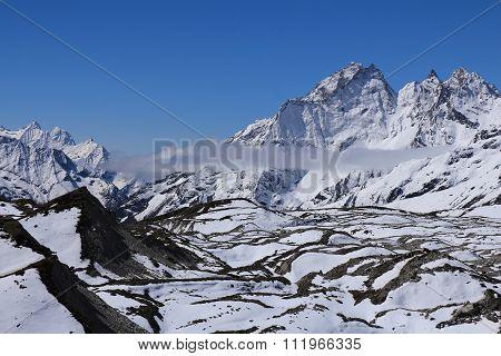 Lower Part Of The Ngozumba Glacier