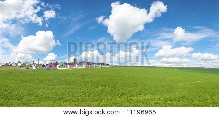 Small Workmen's Settlement In Green Field