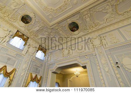 Nizhny Novgorod, Russia - 03.11.2015.The ceiling of  Ballroom in  museum estate  Rukavishnikov