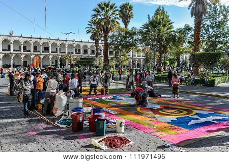 Festivities In The Main Square In Arequipa, Peru