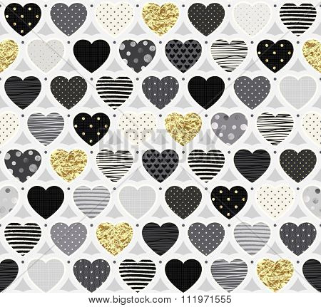 Fashionable festive pattern of different hearts, seamless vector illustration.