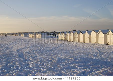Snow On Beach At Worthing. UK