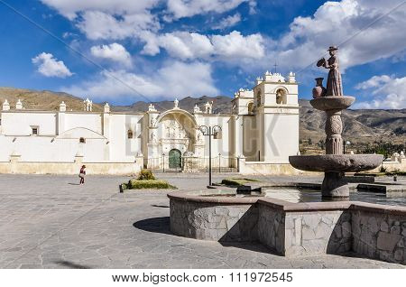 Colonial Church And Statue In The Colca Canyon, Peru