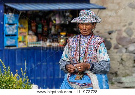 Quechua Woman In The Colca Canyon, Peru