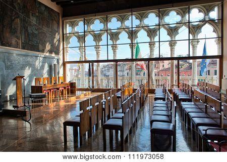 VENICE, ITALY - 17 OCTOBER 2015: Historic lecture hall at Ca Foscari University. . Venice, Italy on 17 October 2015.