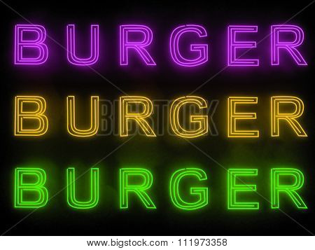 Burger bar neon sign isolated on black background