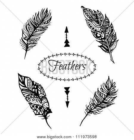 Hand drawn vector zentangle black feathers set isolated on white.