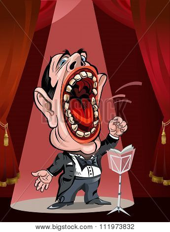 Cartoon Operatic Singer