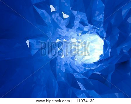 Abstract Shining Bright Blue Crystal Digital Tunnel
