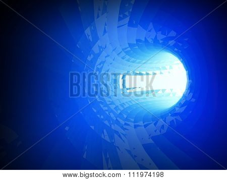Abstract Shining Bright Blue Digital Tunnel 3D