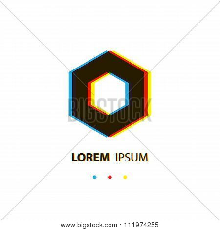 Abstract cube logo template. Corner geometric shape, square icon, box logo.