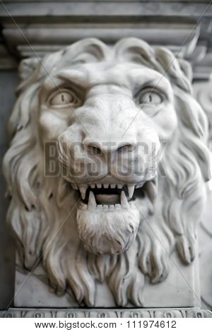 Antique sculpture, lion head.