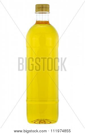 A bottle of Rice bran oil, cooking oil extracted from the hard outer brown layer of rice after husk with natural antioxidant properties, isolated on white background
