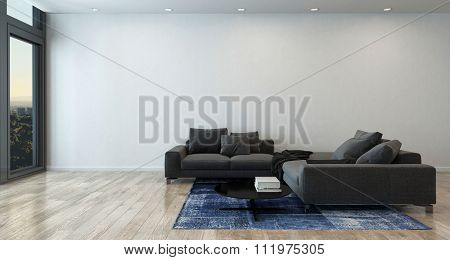 Panoramic Luxury Home Interior Furnished with Gray Sectional Sofa, Blue Area Rug and Coffee Table with View of City Through Large Window - Interior of Modern Luxury High Rise Condo. 3d Rendering.