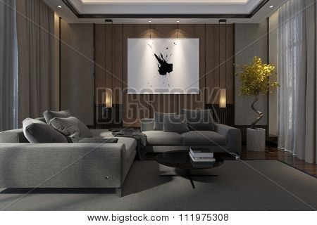 Cozy luxury living room interior at night with comfortable lounge suite, drawn drapes and artwork illuminated by down lights. 3d Rendering.