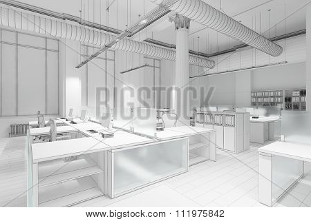 Plain white concept 3d rendering of office interior