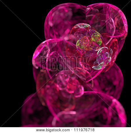 Abstract Black Background With Pink And Magenta Colored Glass Hearts - Rose, Red, Blue, Turquoise, G
