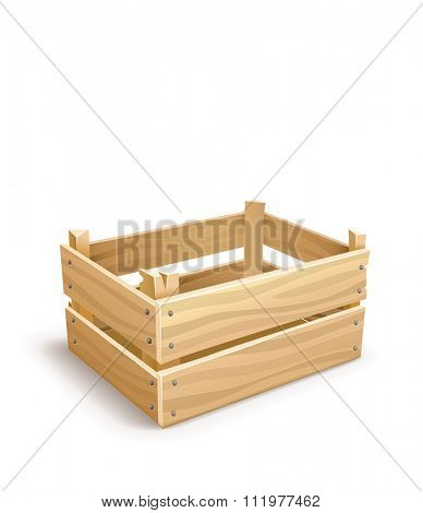 Wooden box for fruits and vegetables keeping. vector illustration. Isolated on white background. Transparent objects used for lights and shadows drawing.