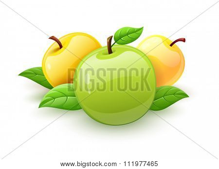 Apple fruits with green leaves vector. vector illustration. Isolated on white background. Transparent objects used for lights and shadows drawing.