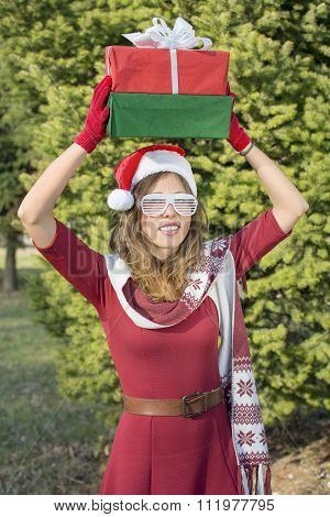 Beautiful Santa Claus Girl With Christmas Presents