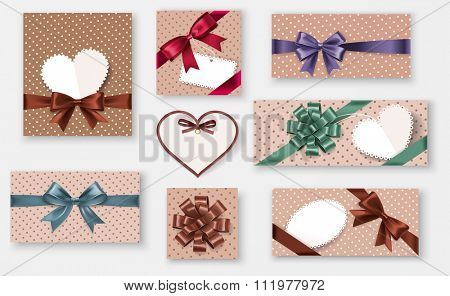 Set retro gifts with bows and shadow on gray background. Vector illustration