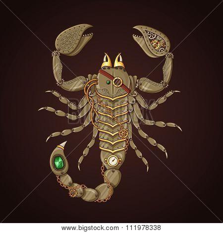 Steampunk mechanical Scorpion
