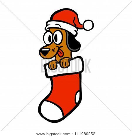 Cartoon Dog Santa Hat Christmas Stocking