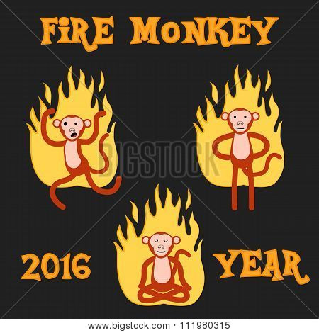 New Year Monkey in the fire. vector illustration