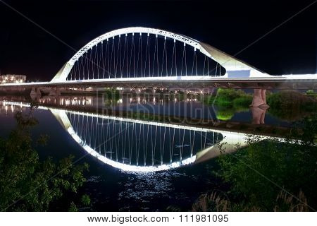 Lusitania Bridge Over Guadiana River At Night