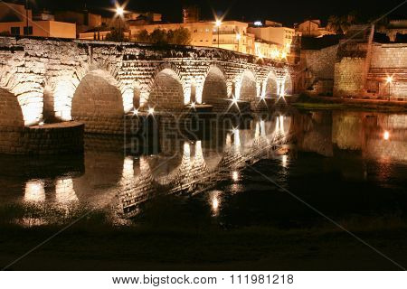 Roman Bridge And Alcazaba At Night, Merida, Spain