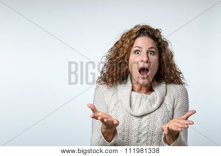 Frustrated Woman Showing Her Ignorance