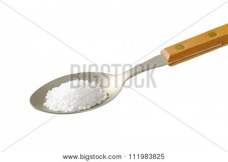 teaspoon of coarse grained salt isolated on white