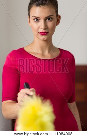 Beauty Maid With Feather Duster