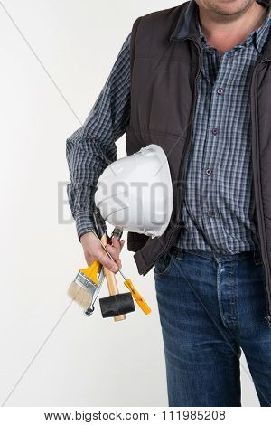 Craftsman With Tools And Hand Drill Isolated On White Background