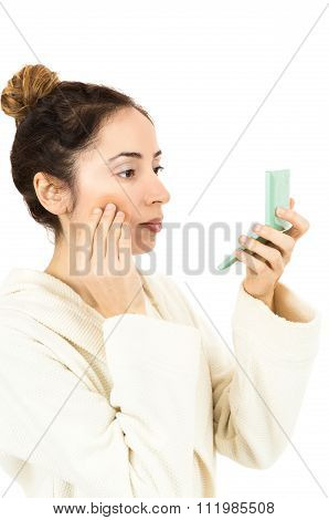 Woman Using Her Make Up Sponge