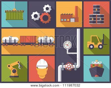 Industry icons vector illustration. Horizontal flat design illustration with industry symbols