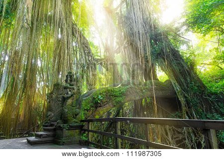Stutue in Sacred Monkey Forest Ubud Bali Indonesia