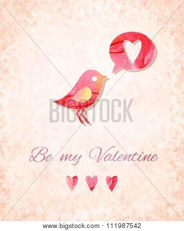 Valentine Watercolor Card With Bird. Vector Illustration, Eps10 Editable.
