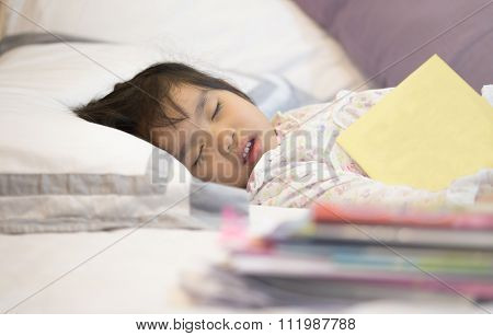 Tired Asian Girl Sleeping Heavy Duties Reading